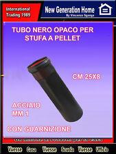 TUBO NERO OPACO PER STUFA A PELLET CM. 8 X 25 PORCELLANATO SPESSORE 1MM