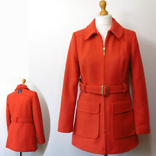 New M&S Hip Length, Belted TAILORED Winter COAT with WOOL ~ Size 12 ~ Tomato
