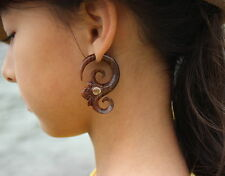 Fake Gauges Wood Earrings tribal hand made naturally body jewelry faux gauge