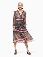 Kate Spade Floral Tile Tiered Silk Midi Dress Size:8   $548 NWT