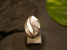 Starker 925 Sterling Silber Ring Schwer Weiß Schimmernder Perlmutt Groß Modern