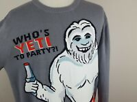 Who's Yeti To Party Gray Long Sleeve Ugly Christmas Sweater Men's Size XL