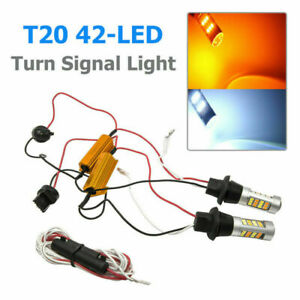 2x 50W 7440 T20 42-LED 2835 Dual-Color Switchback LED DRL Turn Signal Light Kit