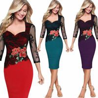 Plus Size Womens Bodycon Lace Floral Embroider Formal Evening Party Pencil Dress