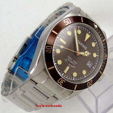 41mm Parnis coffee dial Sapphire glass date Miyota 8215 automatic mens watch 990