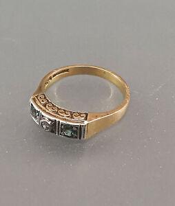 8725087 Grüner Turmalin-Diamant-Ring Art déco um 1920 585er Gold Gr.60