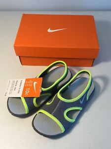 NIKE GREY With Neon Yellow/Green Sandals. Size 10C. NEW.
