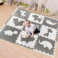 Kids Learn Animal Shape Puzzle Floor Soft Baby Nursery Room Mat Crawling Play