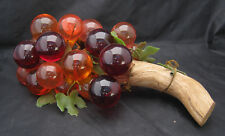 """Large Vintage Centerpiece Plastic GRAPES ON WOOD Display Mixed Colors 15"""""""