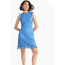 J. Crew Eyelet Sheath Dress NEW Size 6 Blue Lace Overlay Ruffle Detail $198