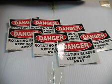 (7) EMED CO DANGER ROTATING BLADES KEEP HANDS AWAY VINYL STICKER QS3252 3 1/2 X5