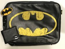 BATMAN LOGO DC COMICS RETRO SHOULDER MESSENGER BAG & WALLET BUNDLE