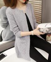Korean Women Pockets Casual Knitted Cardigan Sweater Coat Outwear Tops O Neck