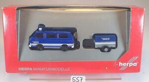 Herpa 1/87 Nr.048217 VW T3 Bus mit Anhänger THW Jugend OVP #557