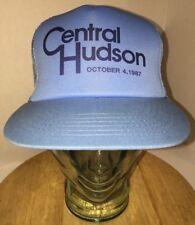 VTG CENTRAL HUDSON October 4 1987 Snow Storm Baby Blue Trucker Hat Cap Snapback