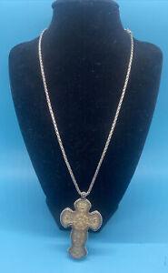 Brighton Rosario Cross Flower Silver Reversible Retired Unique Necklace