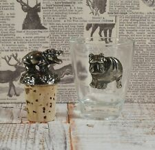 Lovely Silver Plated Hippopotamus Bottle Stopper & Matching Tot Glass