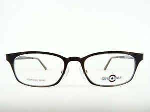 Matt braune Brille Unisexfassung aus Stainless Steel für Gleitsichtgläser Gr. M
