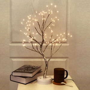 LED Night Light Tree Table Desk Lamp Gold Branch Battery USB Wedding Party Decor