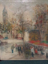 Mic Century Parisian Oil painting, street scene, c1950, estate
