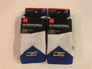 Youth Under Armour UA Steph Curry SC Crew Socks Sz Youth Large NEW Lot of 2 Pair