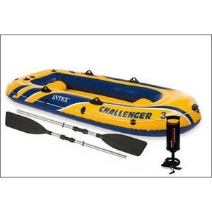 Intex 68370NP Bateau sport gonflable Challenger 3 Set avec pagaies et pompe