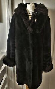 SILK & SABLE Ladies FAUX FUR  coat WITH HOOD