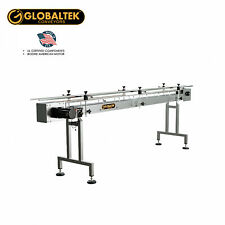 "Globaltek 10'x4.5"" S/S Sanitary Raised Bed Conveyor with Table Top Plastic Belt"