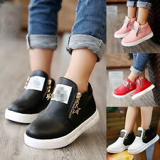 Girls Boys Toddler Casual PU Leather Trainers Ankle Martin Boots Kids Zip Shoes