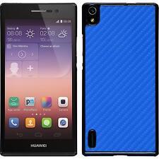 Coque Rigide Huawei Ascend P7 - look carbone bleu + films de protection