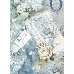 Rice paper for decoupage. Blue: white roses, butterfly, chamomile flowers, birds