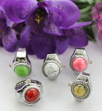 5pcs Mixed Colours Stone Dome Pocket elastic Finger Ring Watch #22450