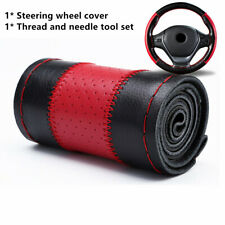 Genuine Leather DIY Car Steering Wheel Cover W/ Needle Thread Black+Red  38cm
