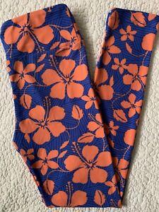Lularoe Leggings OS Coral Orange Sherbet Hibiscus Flowers on Royal & Navy Blue