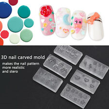 6pcs 3D GEL Silicone Nail Art Tips Powder Mould Mold Set DIY Nail Design