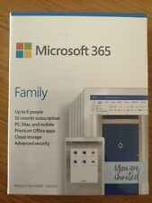 Microsoft Office 365 Home / Family 6 user 12 month subscription BNIB PC or MAC