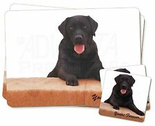 Black Labrador 'Yours Forever' Twin 2x Placemats+2x Coasters Set in Gi, AD-L91PC