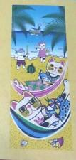 Maneki Neko Tenugui Tapestry Cotton 100% Printed Made in Japan  HAN MOCK