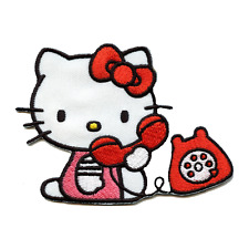 Hello Kitty on Red Telephone Iron On Embroidered Patch