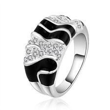 925 Sterling Silver Zirconia Black Epoxy Band Ring Size 8 B33