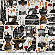 """Q TREASURES FRISCH """"SHE WHO SEWS"""" 23066-E SEWING THEME FABRIC PRICED @ 1/2 YD"""