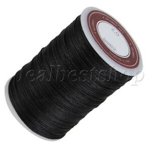 120m Black 0.5mm Dia Polyester Leather Sewing Round Waxed Thread Cord for DIY