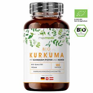 Bio Kurkuma Kapseln hochdosiert 180 Stück + mit 2880 mg Curcuma Pulver