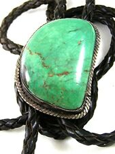 Vintage Native American Coin Silver Turquoise Bolo Leather Cord By R.N. 52617