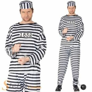 Mens Convict Costume Prisoner Adult Stag Night Fancy Dress Outfit