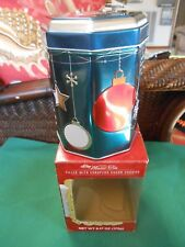 Great STOCKMEYER Musical Tin (Empty)...Blue with Red & White Christmas Balls