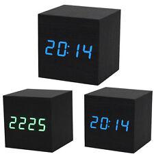 USPS Wood Cube LED Alarm Control Digital Desk Clock Wooden Room Temperature US
