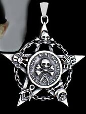 Pentagramm&Skull Amulett  Anhänger +Kette Satan Schädel Totenkopf Teufel Gothic