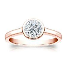 GIA Certified 0.30 Cts F/VS1 Natural Diamond Bezel Set Ring In Hallmark 14K Gold