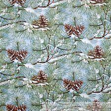 BonEful FABRIC FQ Cotton Quilt VTG Blue Sky Brown Xmas Pine Tree White Snowflake